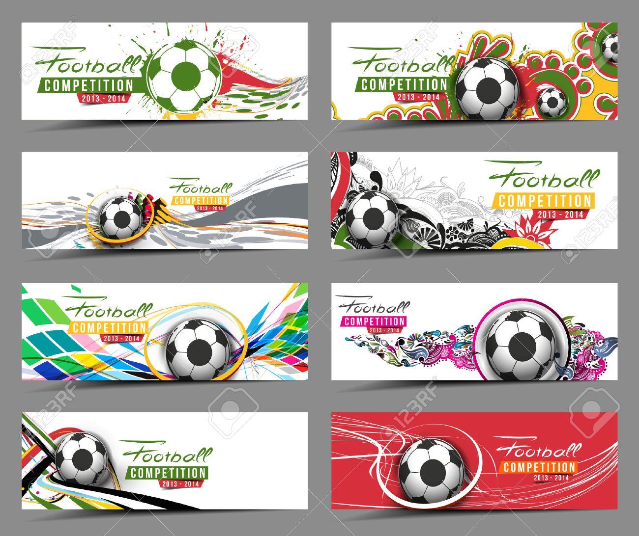 Set of Football Event Banner Header Ad Template Design. Stock Vector - 38435106
