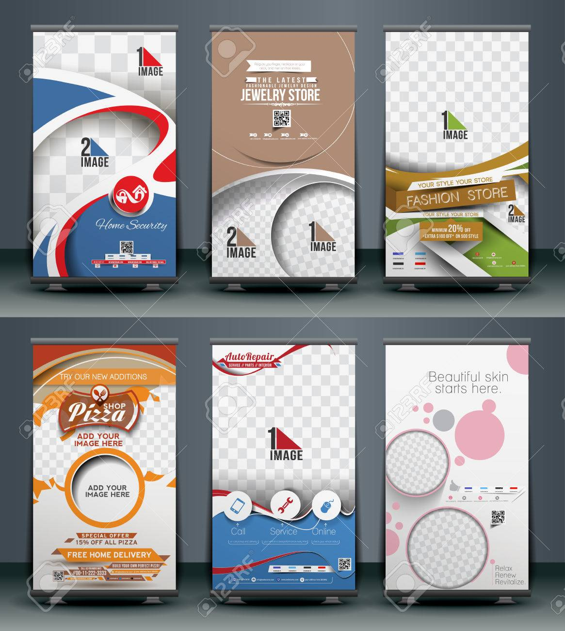 Mega Collection of Roll Up Banner Design Stock Vector - 38435108