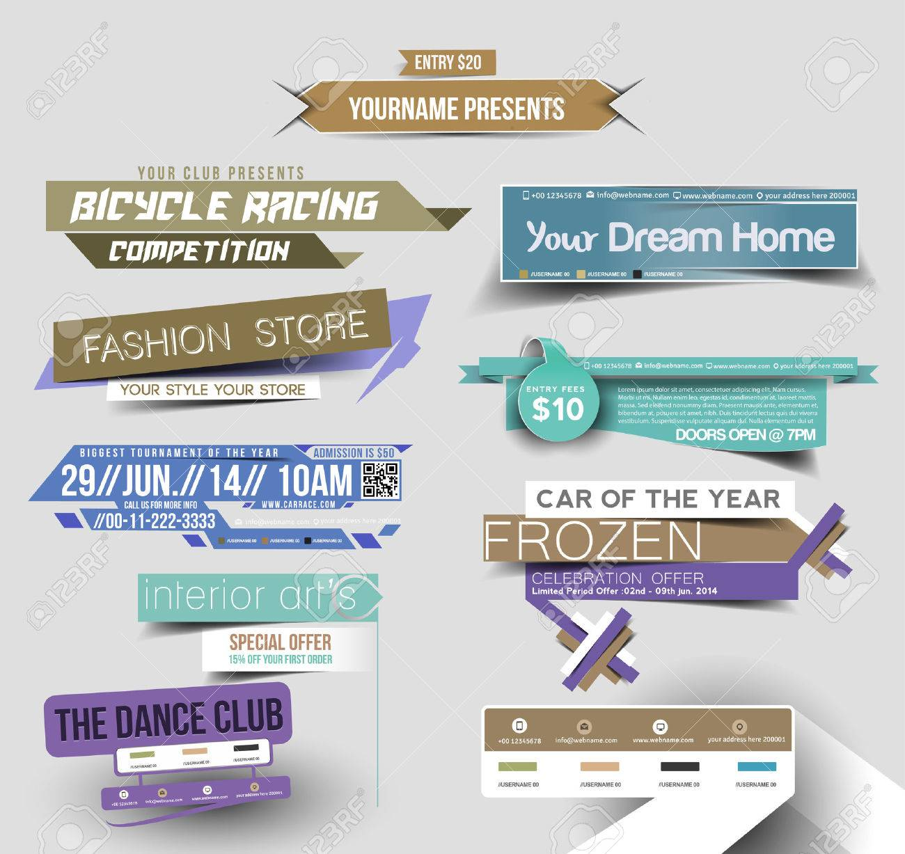 Collection of Sale Discount Styled Website Banner Stock Vector - 40539912