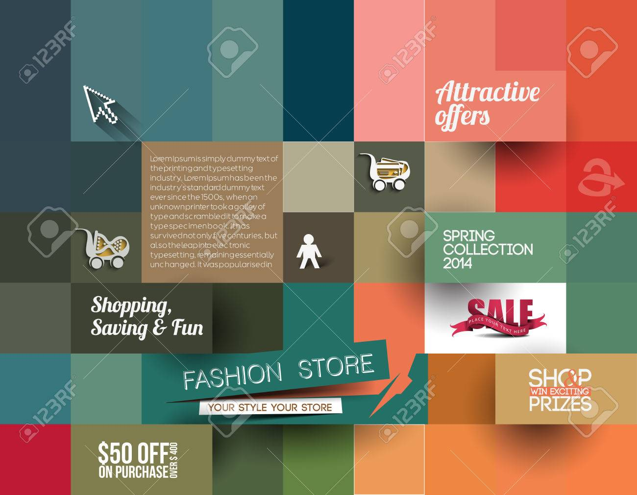 abstract fashion sale poster template for advertising use royalty