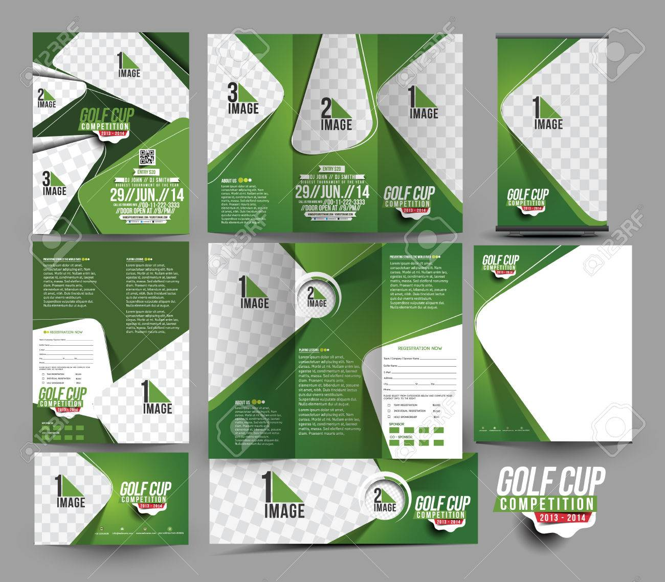 Golf Club Business Stationery Set Template Stock Vector - 41833092