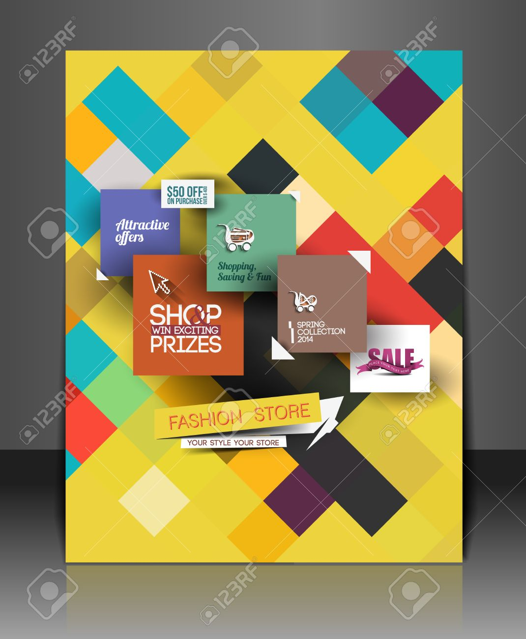 shopping center store flyer template design royalty free cliparts