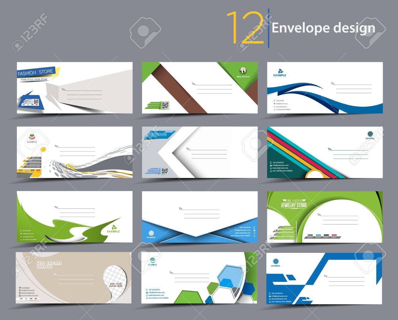 set of paper envelope templates for your project design royalty free