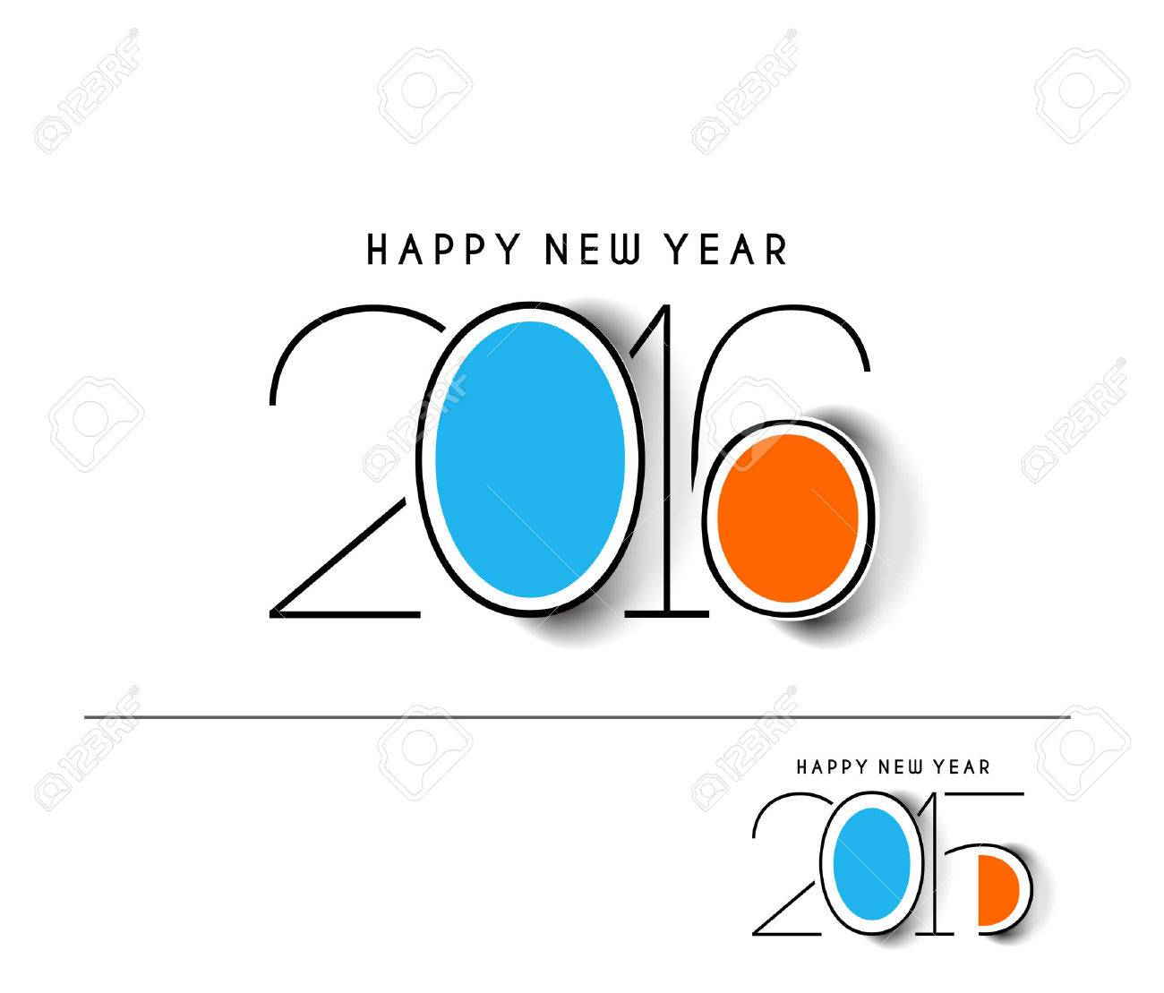 Happy new year 2016 Text Design Stock Vector - 47377475