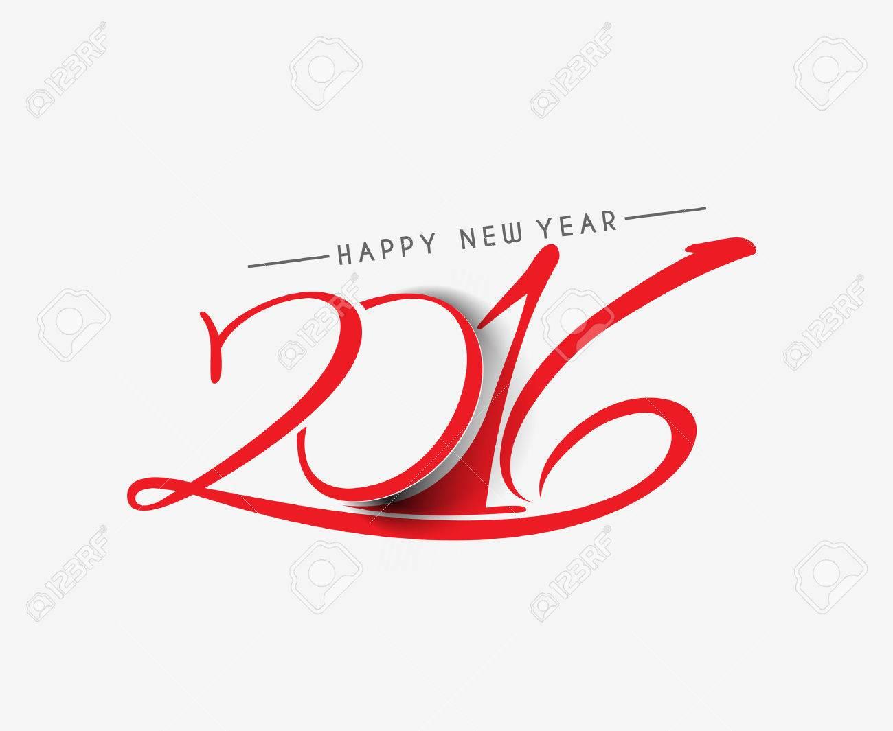 Happy new year 2016 Text Design - 47383346