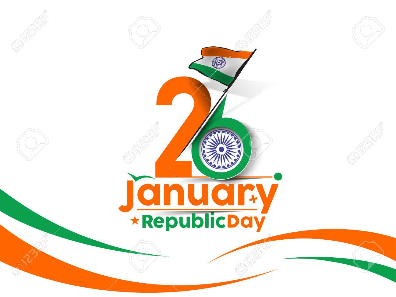Indian Republic day concept with text 26 January. Stock Vector - 50263613