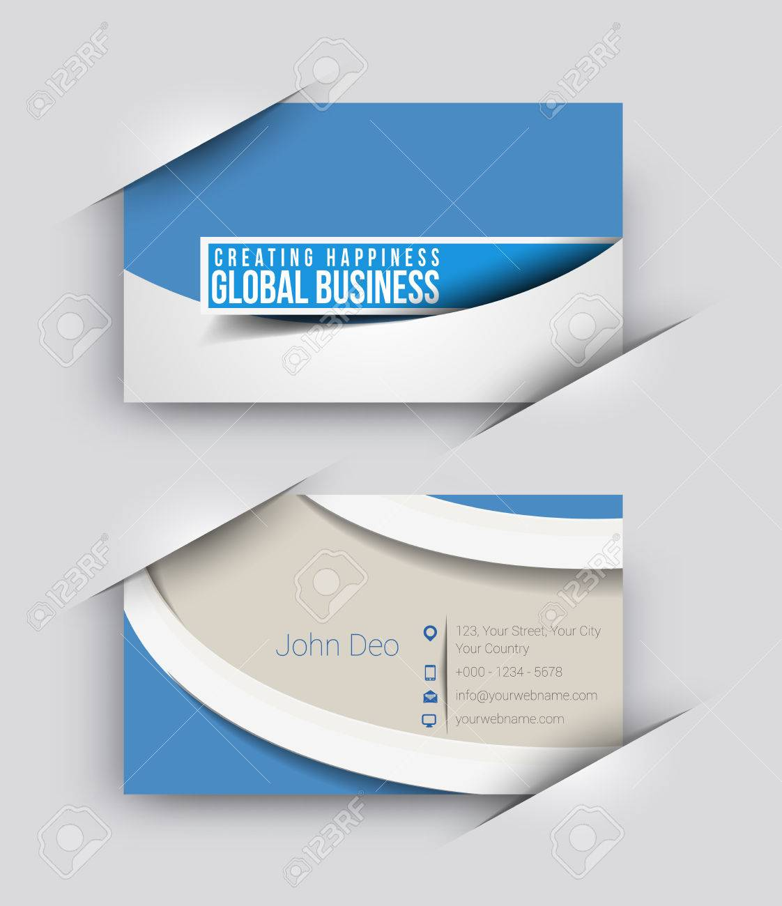Modern Business Card Vector Template. Royalty Free Cliparts, Vectors ...