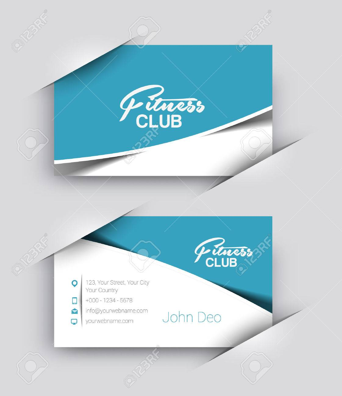 Fitness Center Business Card Vector Template. Royalty Free Cliparts ...