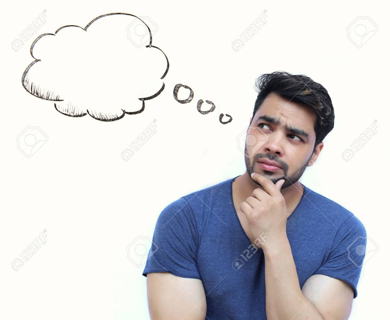 Young Indian Man thinking of thought bubble on white Background Stock Photo - 57909845