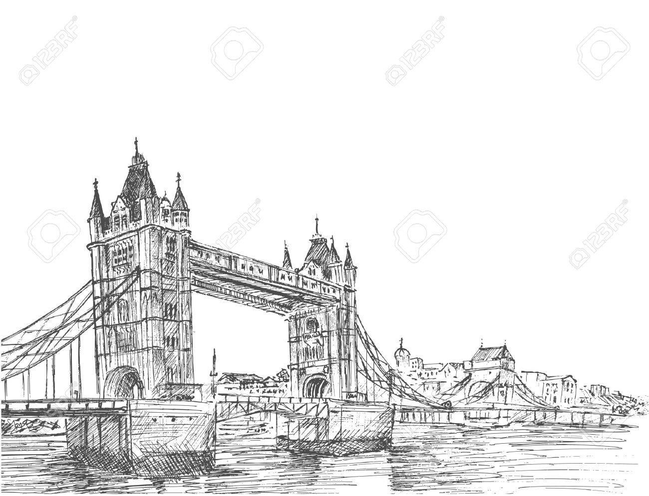 Hand Drawn sketch illustration of Tower Bridge, London, UK. - 59730871