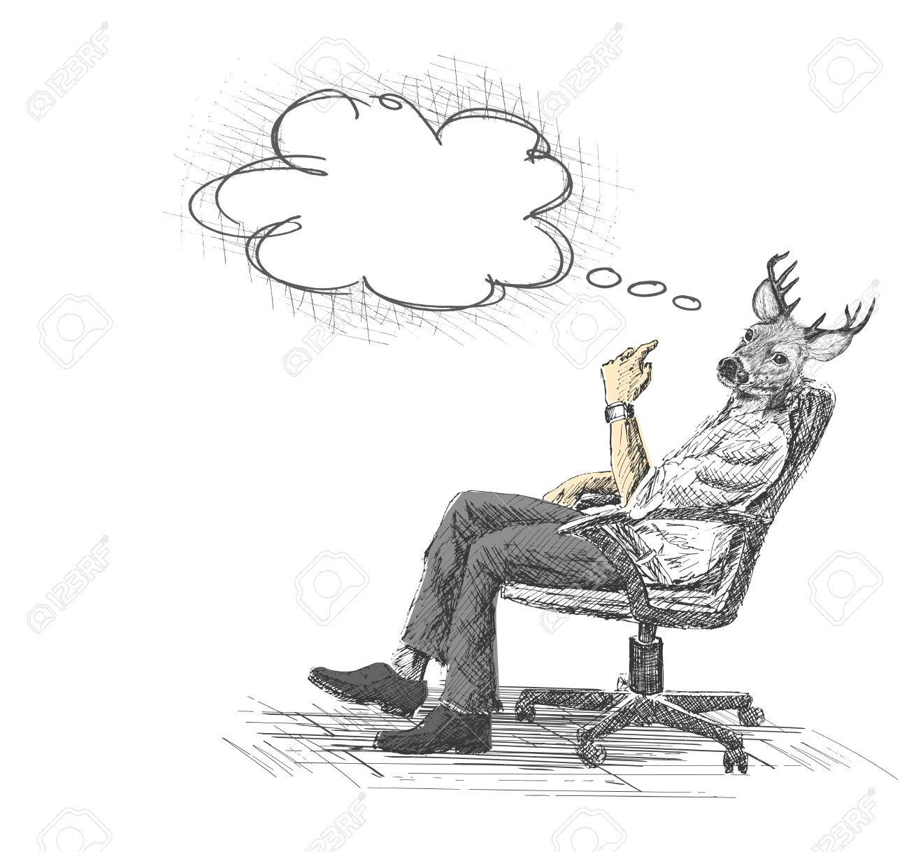 Bürostuhl comic  Hand Drawn sketch vector illustration of Thoughtful young businessman  sitting on office chair.