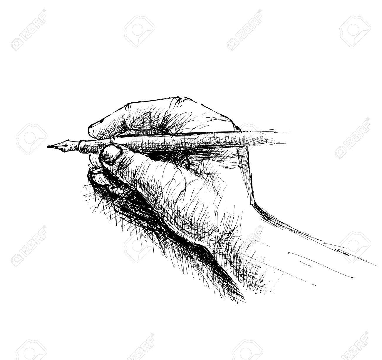 Hand holding pencil sketch isolated on white background vector illustration stock vector 60488974