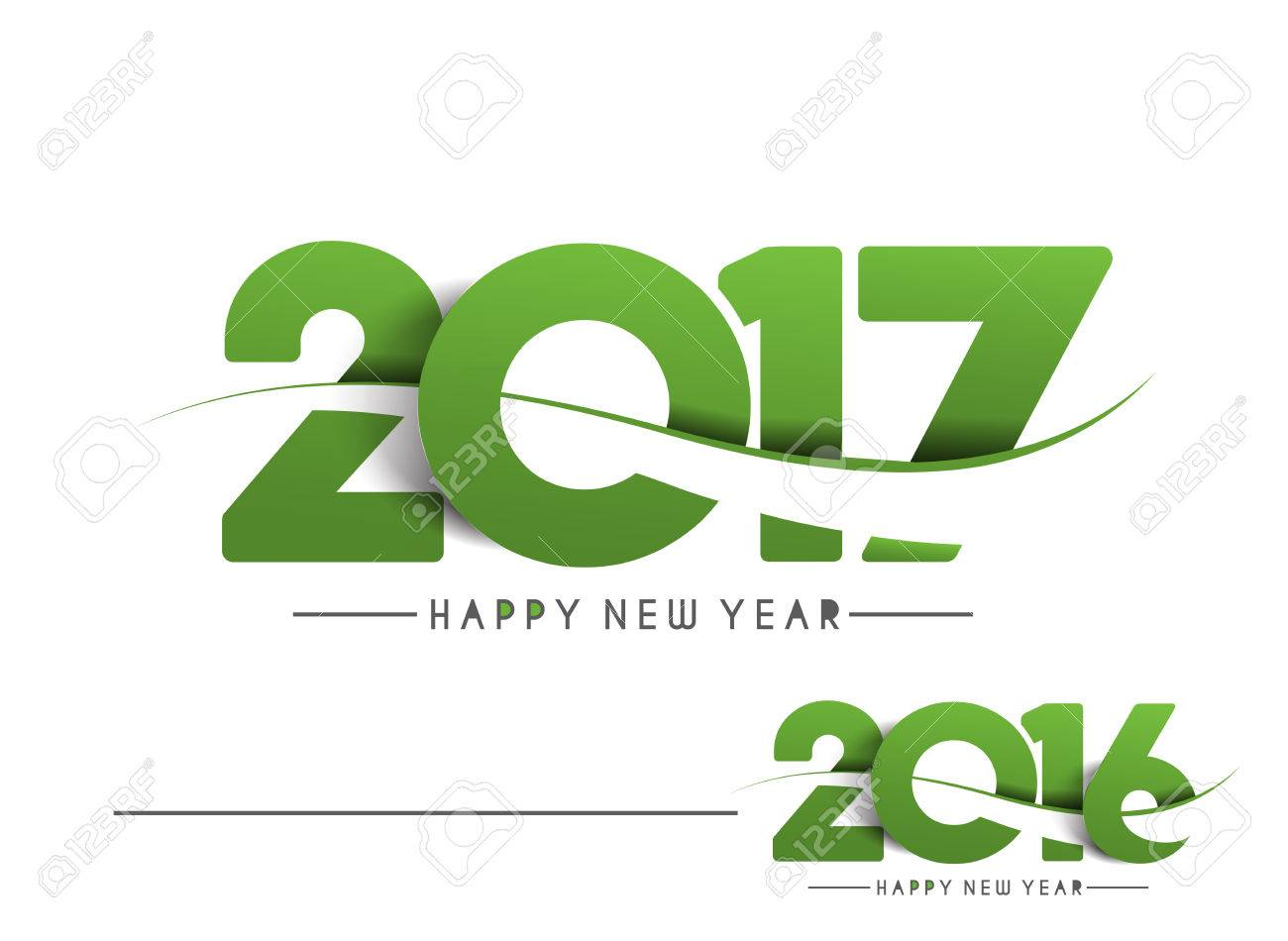 Happy new year 2017 & 2016 Text Design vector - 60488981
