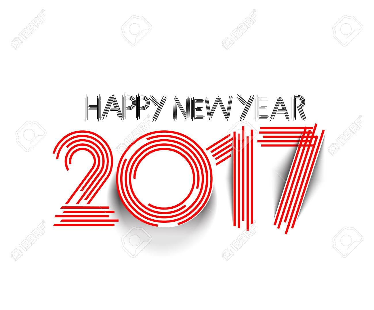 Happy new year 2017 Text Design vector - 60561151