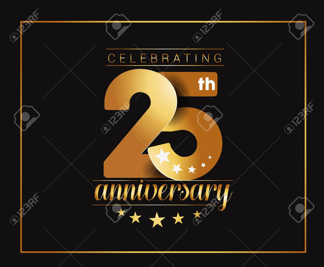25th Years Anniversary Celebration Design. Stock Vector - 61055008