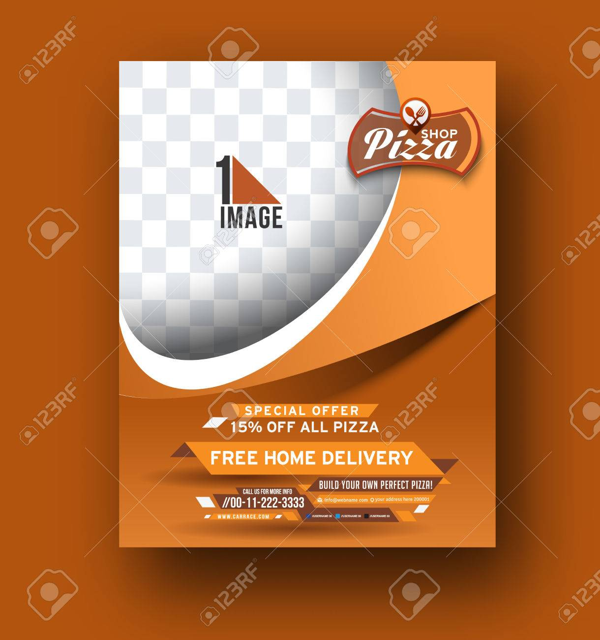 Vector Pizza Shop Flyer, Magazine Cover & Poster Template. Royalty ...