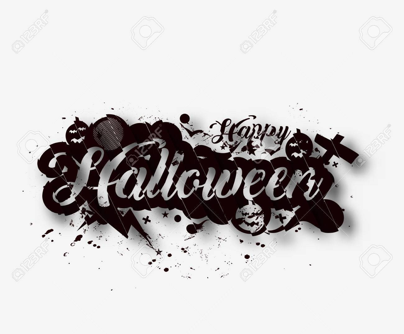 Happy halloween greeting card calligraphy text design halloween