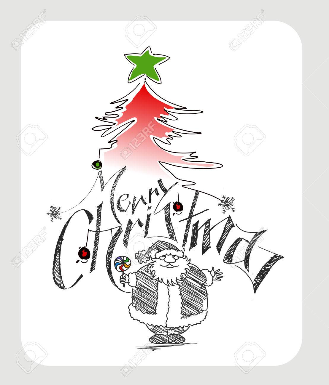 Merry Christmas! Cartoon Style Hand Sketchy Drawing Of A Funny ...