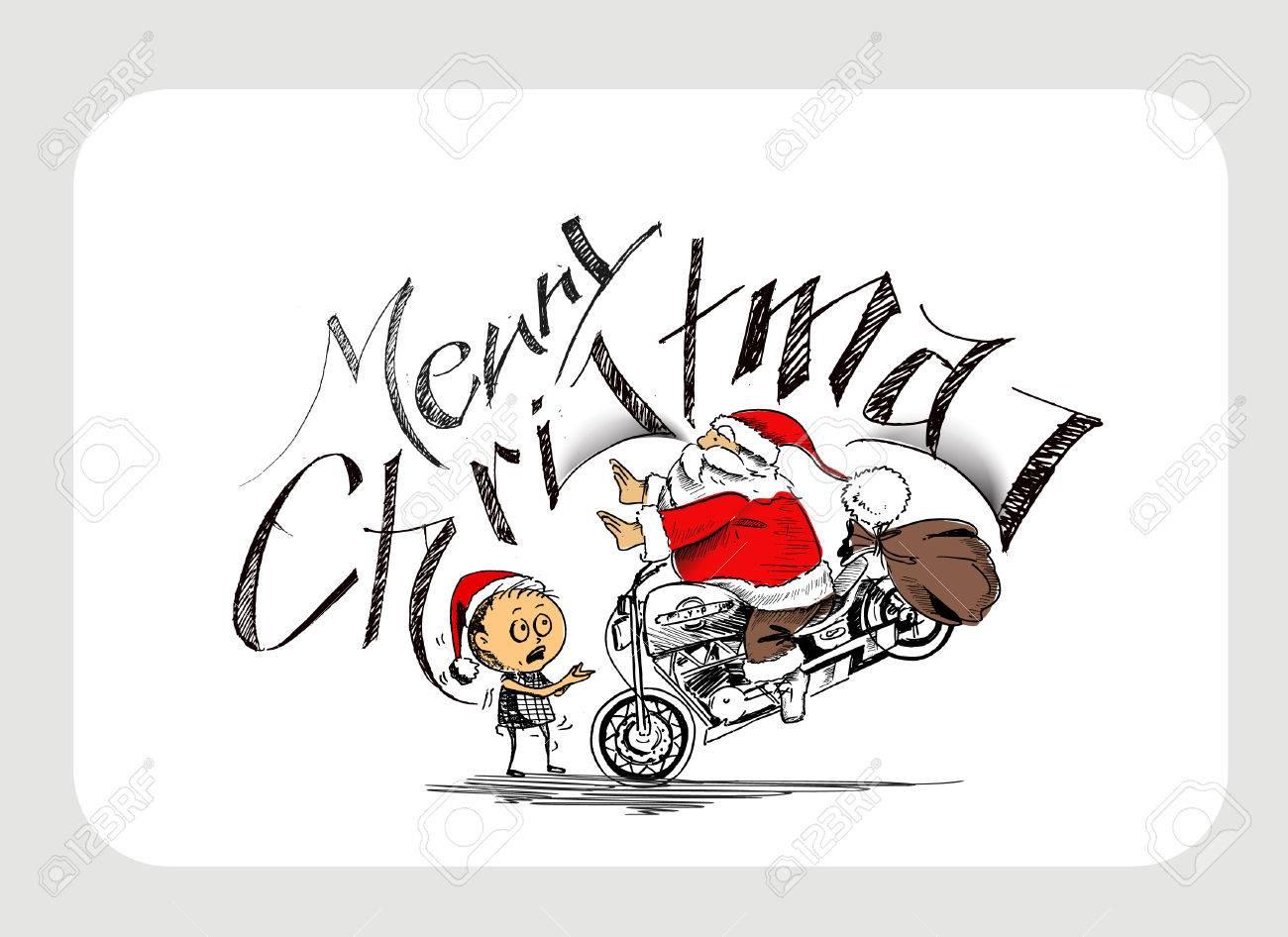 Frohe Weihnachten Motorrad.Stock Photo