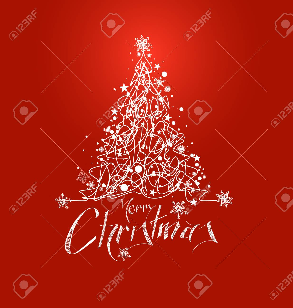 Merry Christmas! Christmas Background - Christmas Tree With Red ...