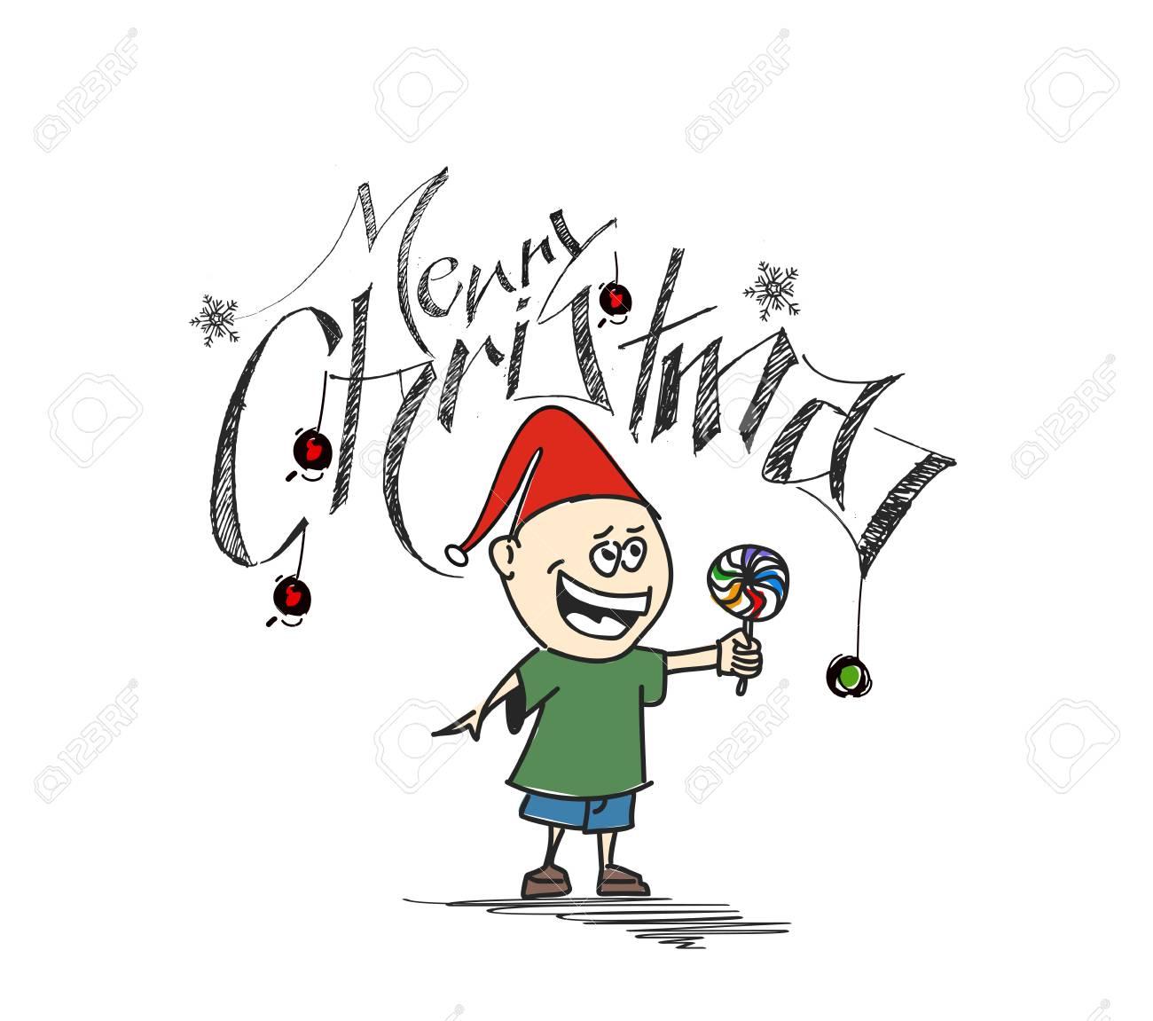 Joyeux Noel Style Dessin Anime Main Dessin Sommaire D Un Petit Pere