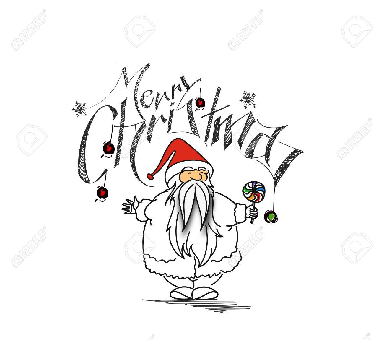Christmas Cartoon Drawings.Merry Christmas Cartoon Style Hand Sketchy Drawing Of A Funny