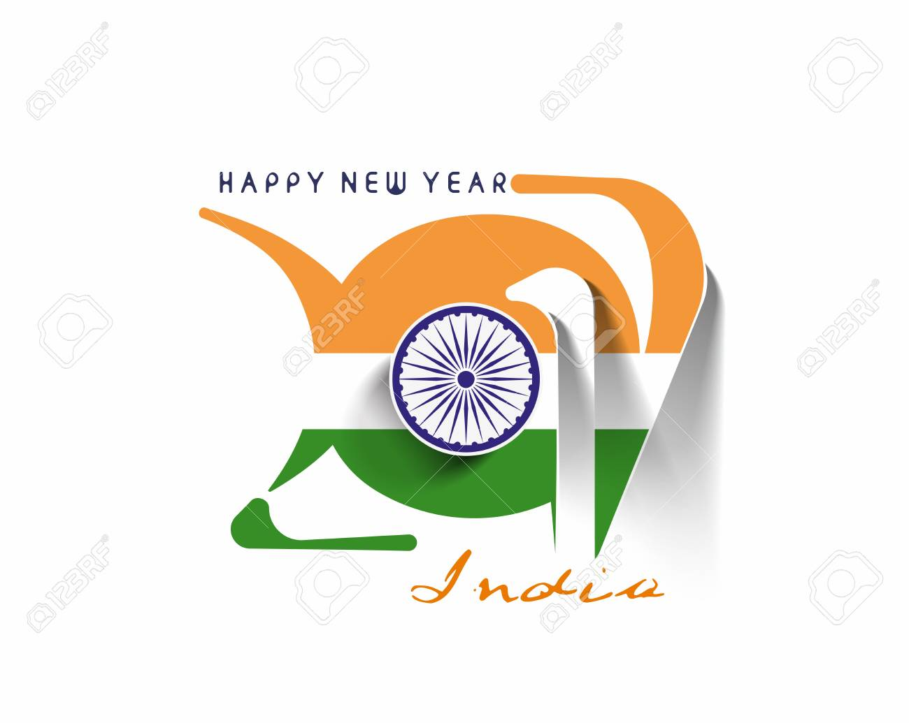 happy new year 2017 with india flag pattern text vector design background stock vector 66810502