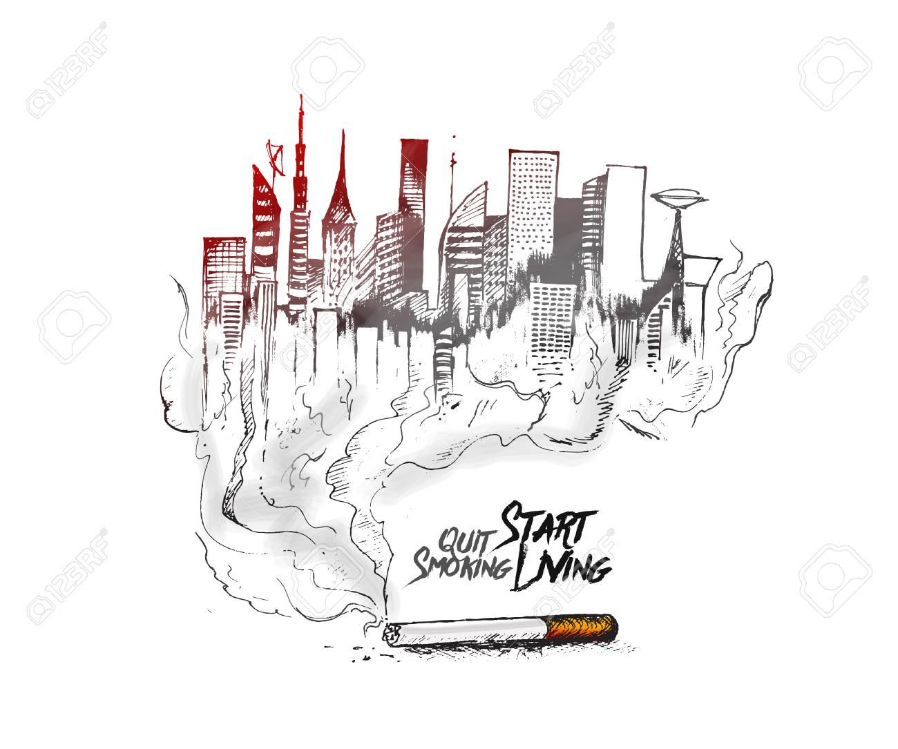 Vettoriale Bruciare La Sigaretta Come Un Disegno Di Città