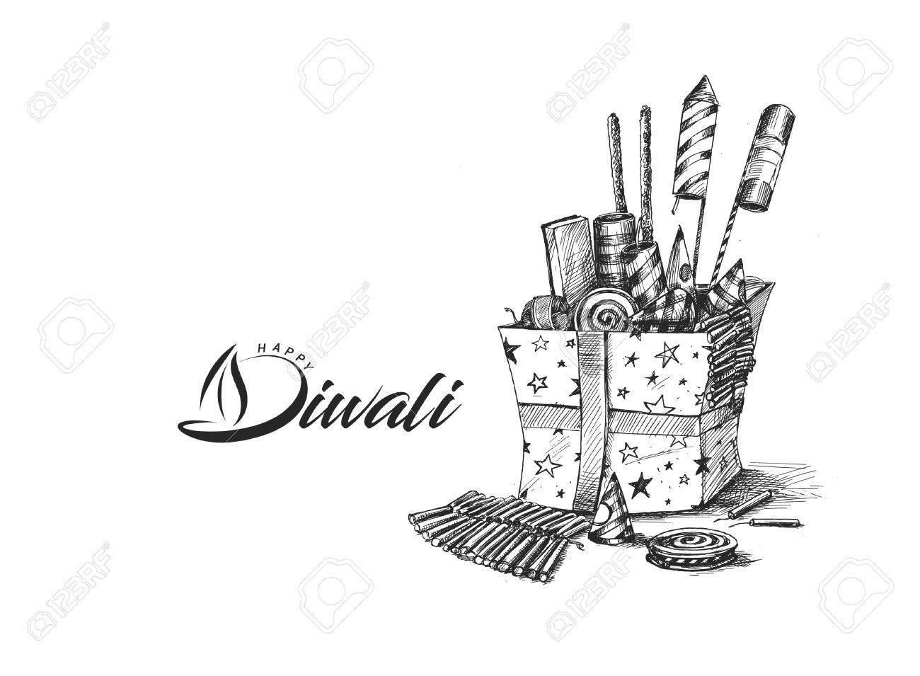 Diwali crackers for diwali gift hand drawn sketch vector