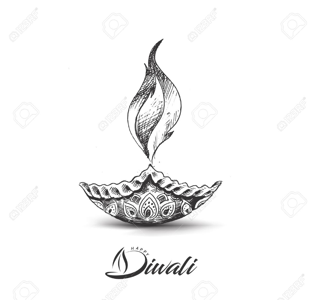 Diwali festival oil lamp diya hand drawn sketch vector