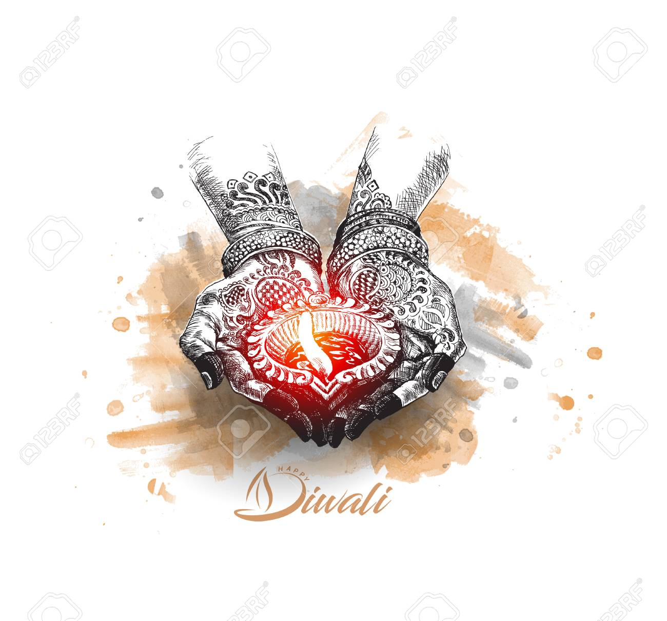 Hand holding Indian oil lamp - diya, Diwali festival, Hand Drawn Sketch Vector. - 87797931