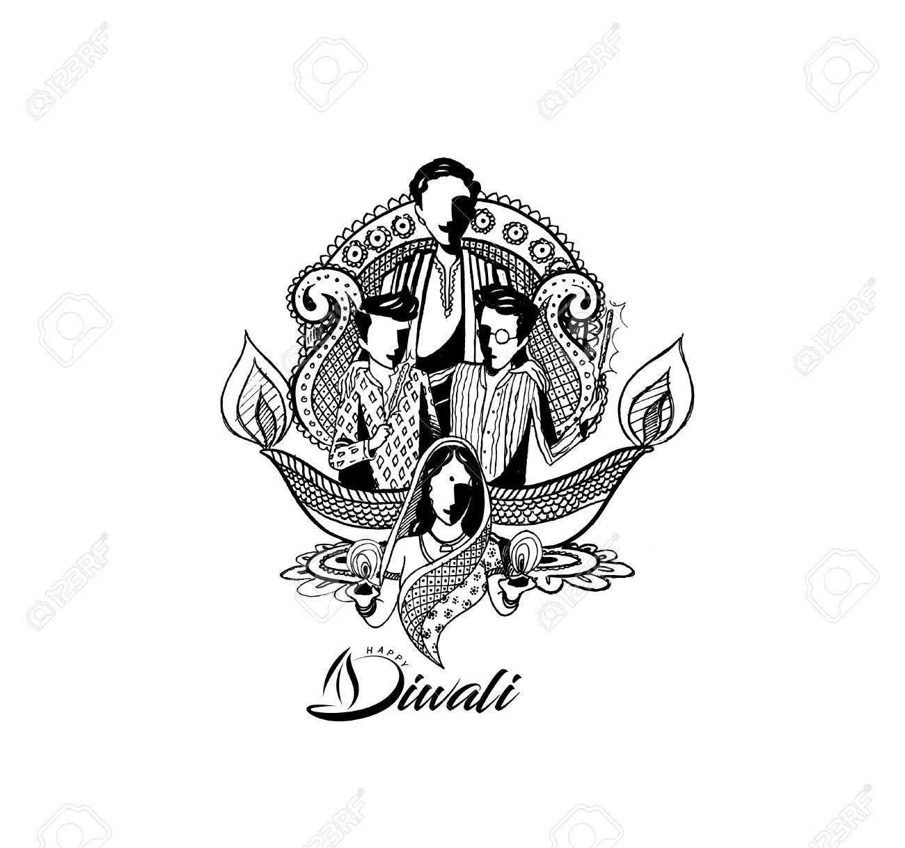 Happy diwali creative background for diwali festival hand drawn