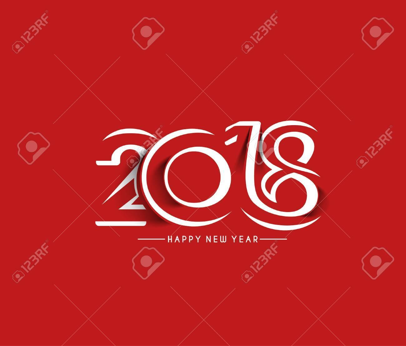 Happy new year 2018 Text Design, Vector illustration. - 89472598