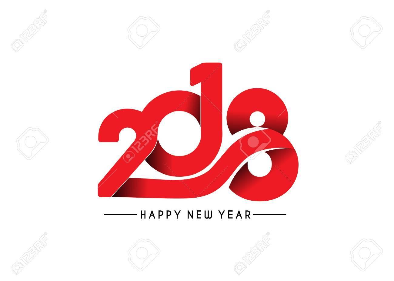 Happy new year 2018 Text Design, Vector illustration. Stock Vector - 89612851