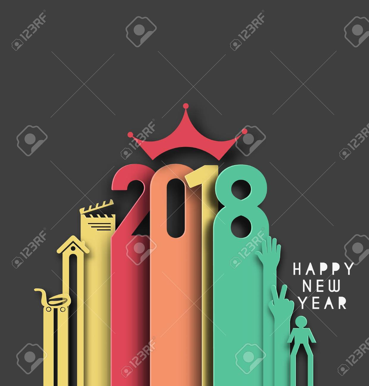 Happy new year 2018 Text Design, Vector illustration.