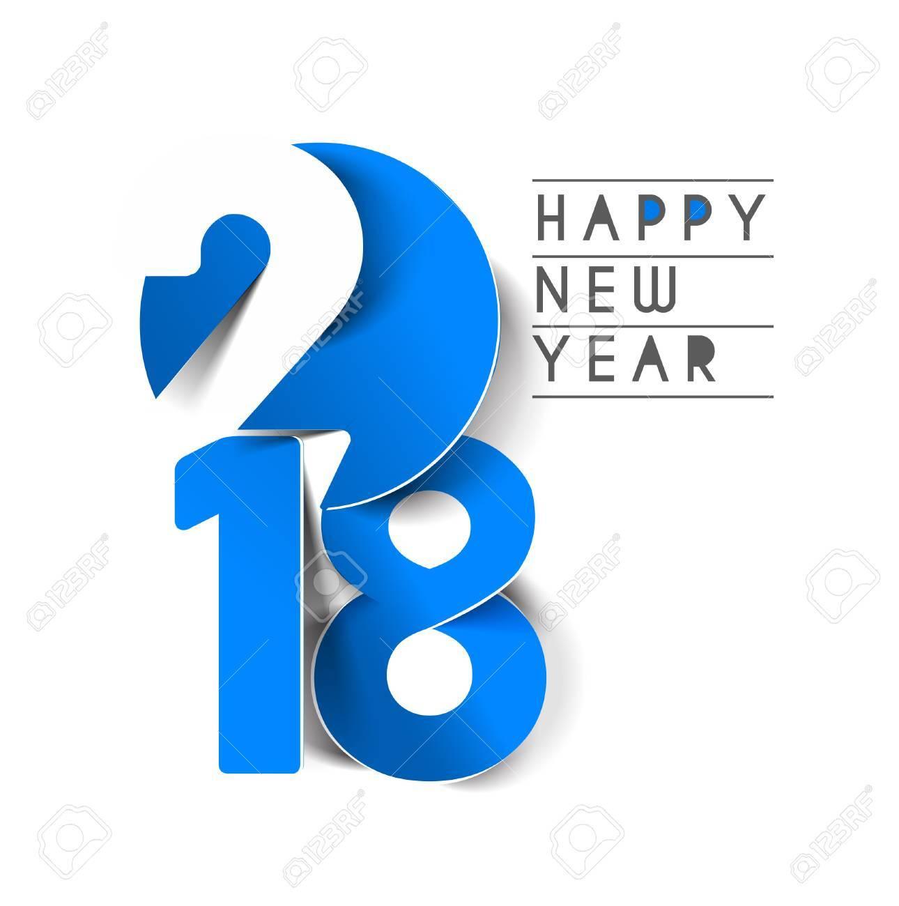 Happy new year 2018 Text Design, Vector illustration. Stock Vector - 89707648