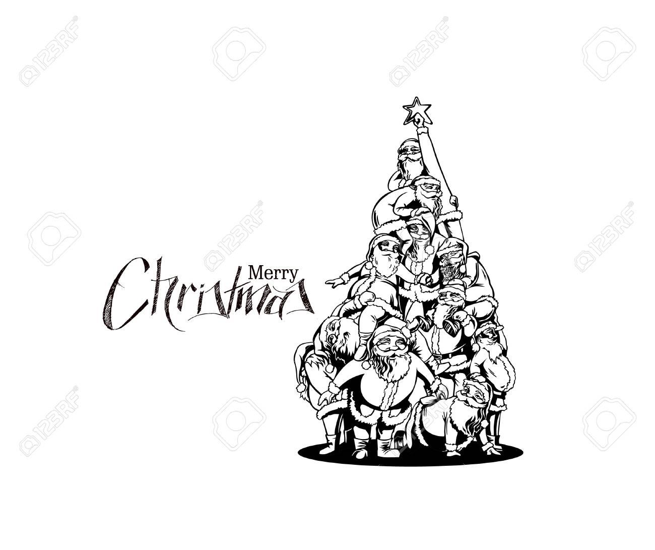 Christmas Santa Tree Background Cartoon Style Hand Sketchy Drawing