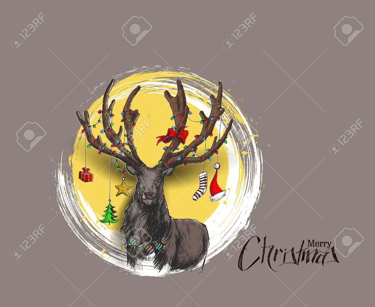 Happy Christmas , Cartoon Style Hand Sketchy drawing of reindeer,..