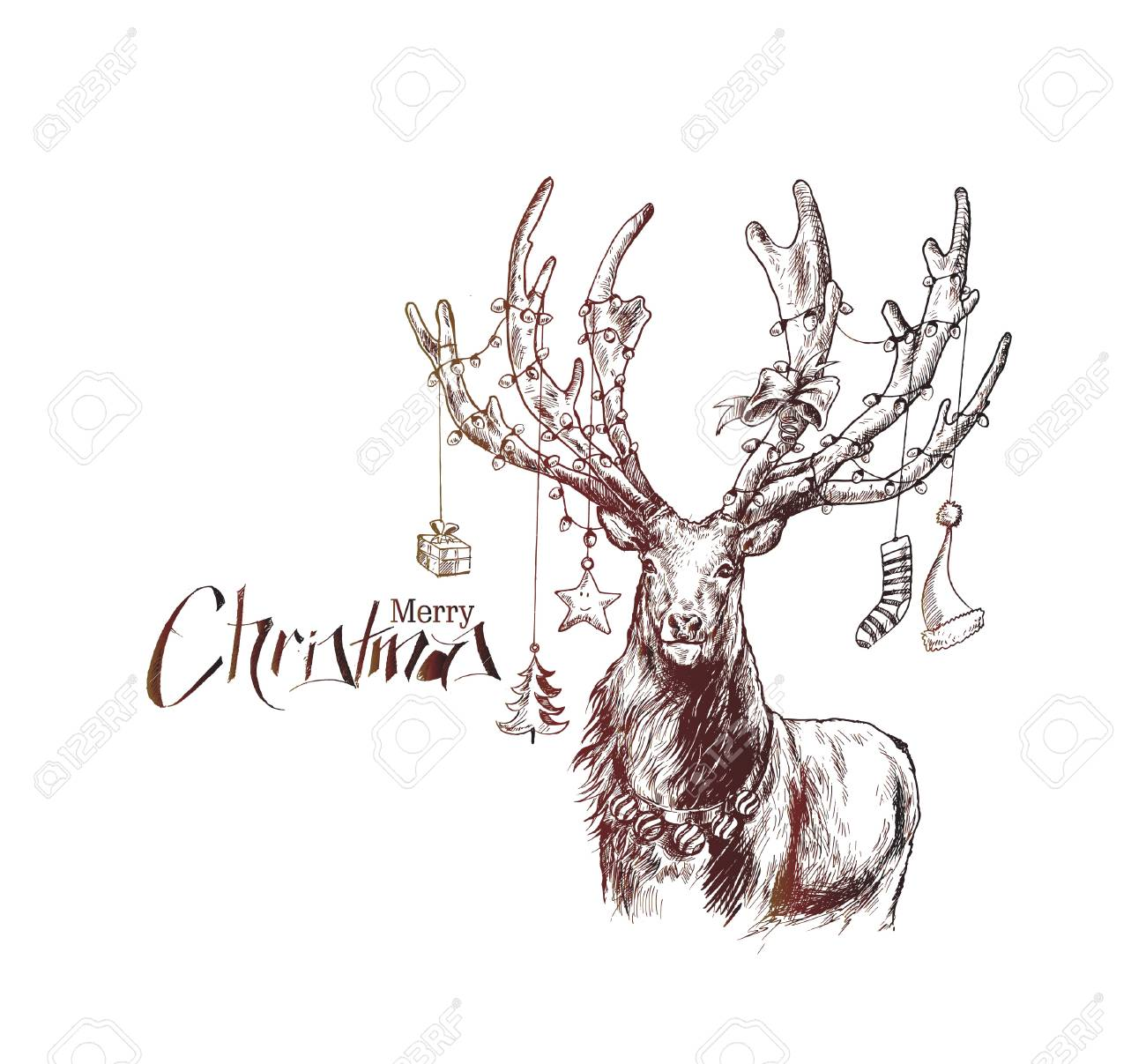happy christmas cartoon style hand sketchy drawing of reindeer royalty free cliparts vectors and stock illustration image 91726654 happy christmas cartoon style hand sketchy drawing of reindeer