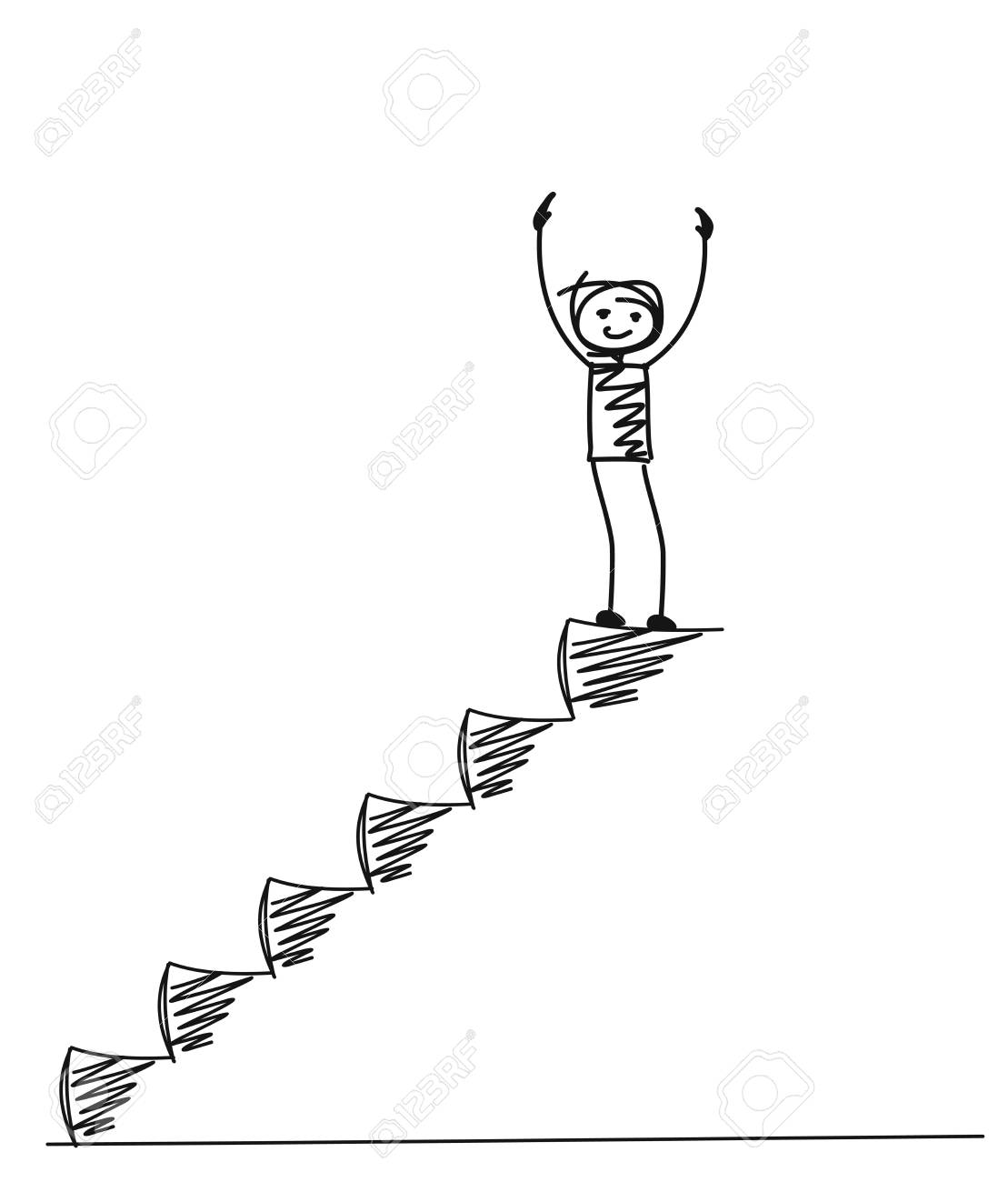 Man on top of the stairs, Cartoon Hand Drawn Vector Background. - 96123288