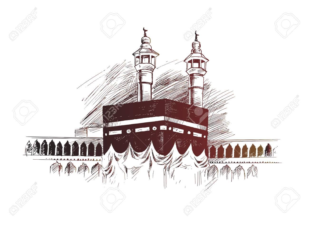 Holy Kaaba in Mecca Saudi Arabia, Hand Drawn Sketch Vector illustration. - 100478054