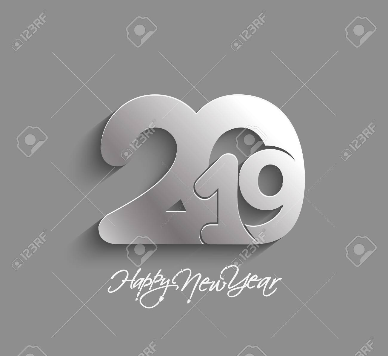 Happy New Year 2019 Text Design Patter, Vector illustration. - 110507264