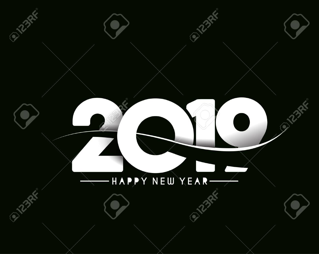 Happy New Year 2019 Text Design Patter, Vector illustration. - 110507313