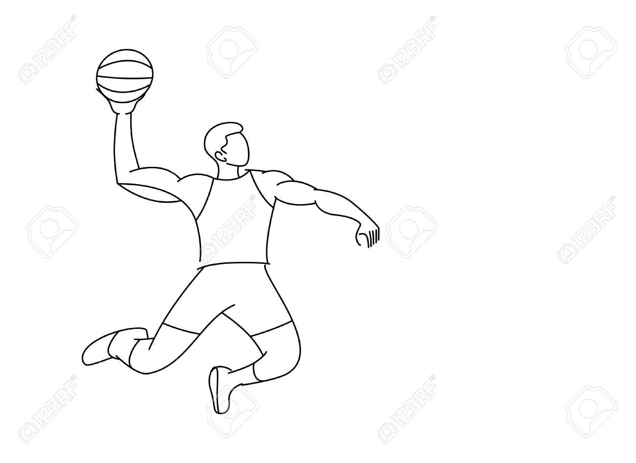 Basketball Player Jumping Dunking In Line Art Drawing Vector Royalty Free Cliparts Vectors And Stock Illustration Image 121185621