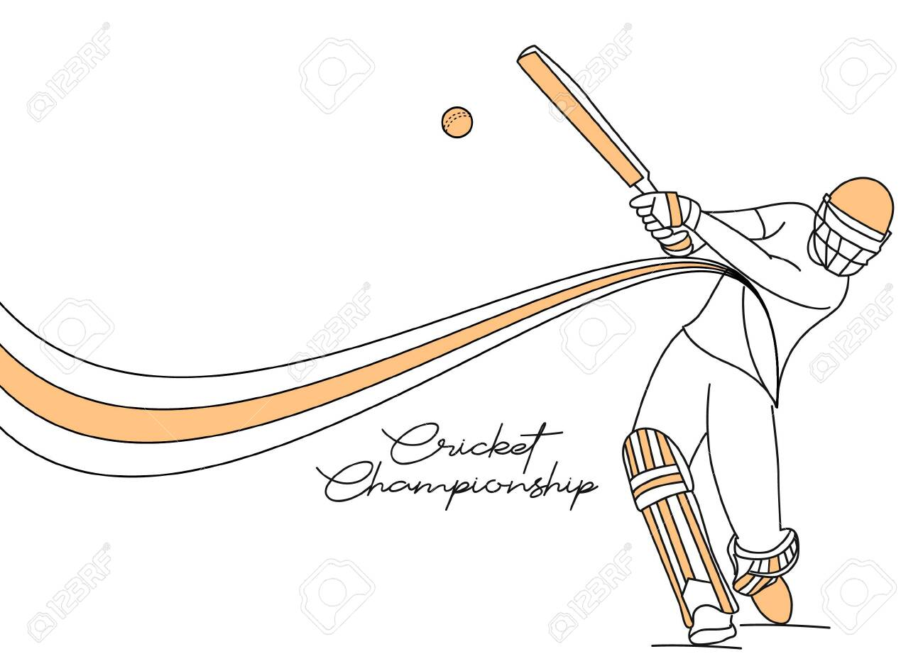 Abstract colorful pattern with batsman and bowler playing cricket