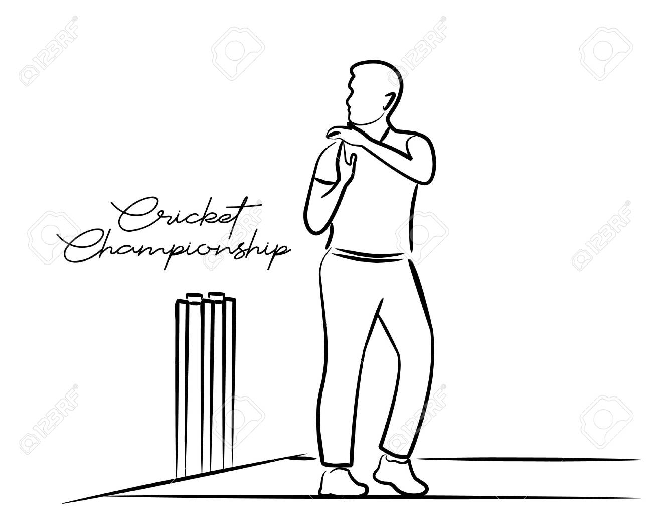 Cricketer Want Review - single line art drawing  Vector Design