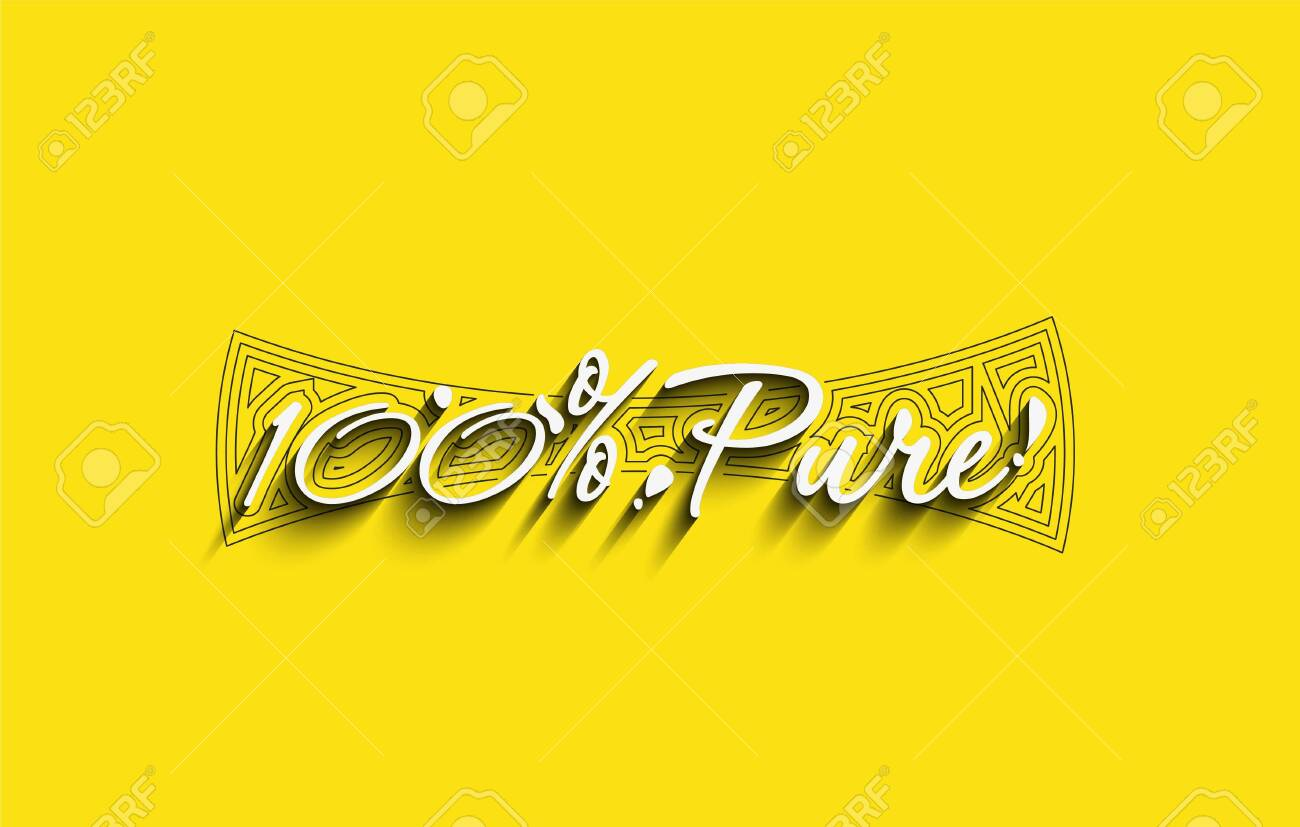 100% pure and natural product typography design. - 144065382