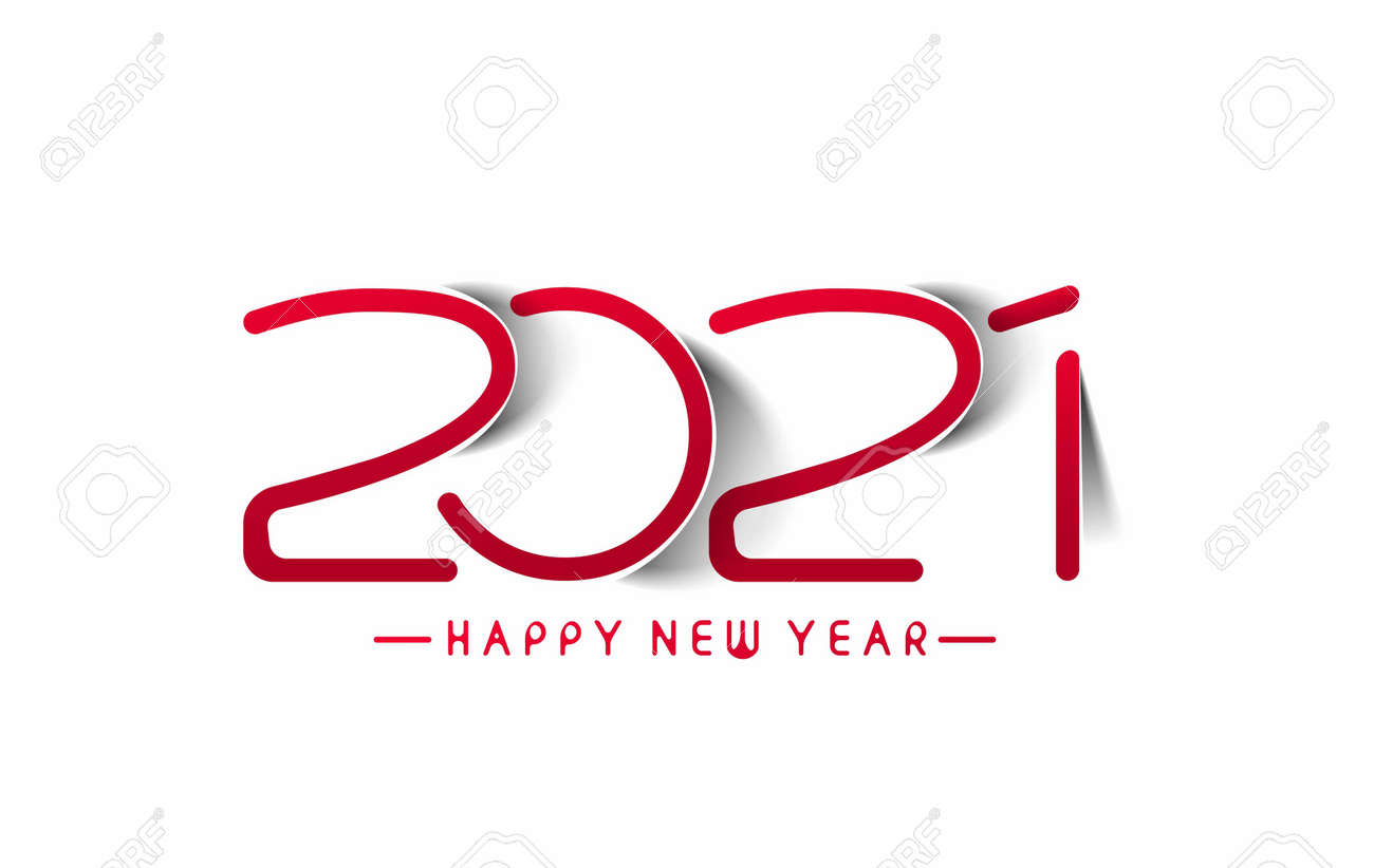 Happy New Year 2021 Text Typography Design Banner Poster, Vector illustration. - 157847483