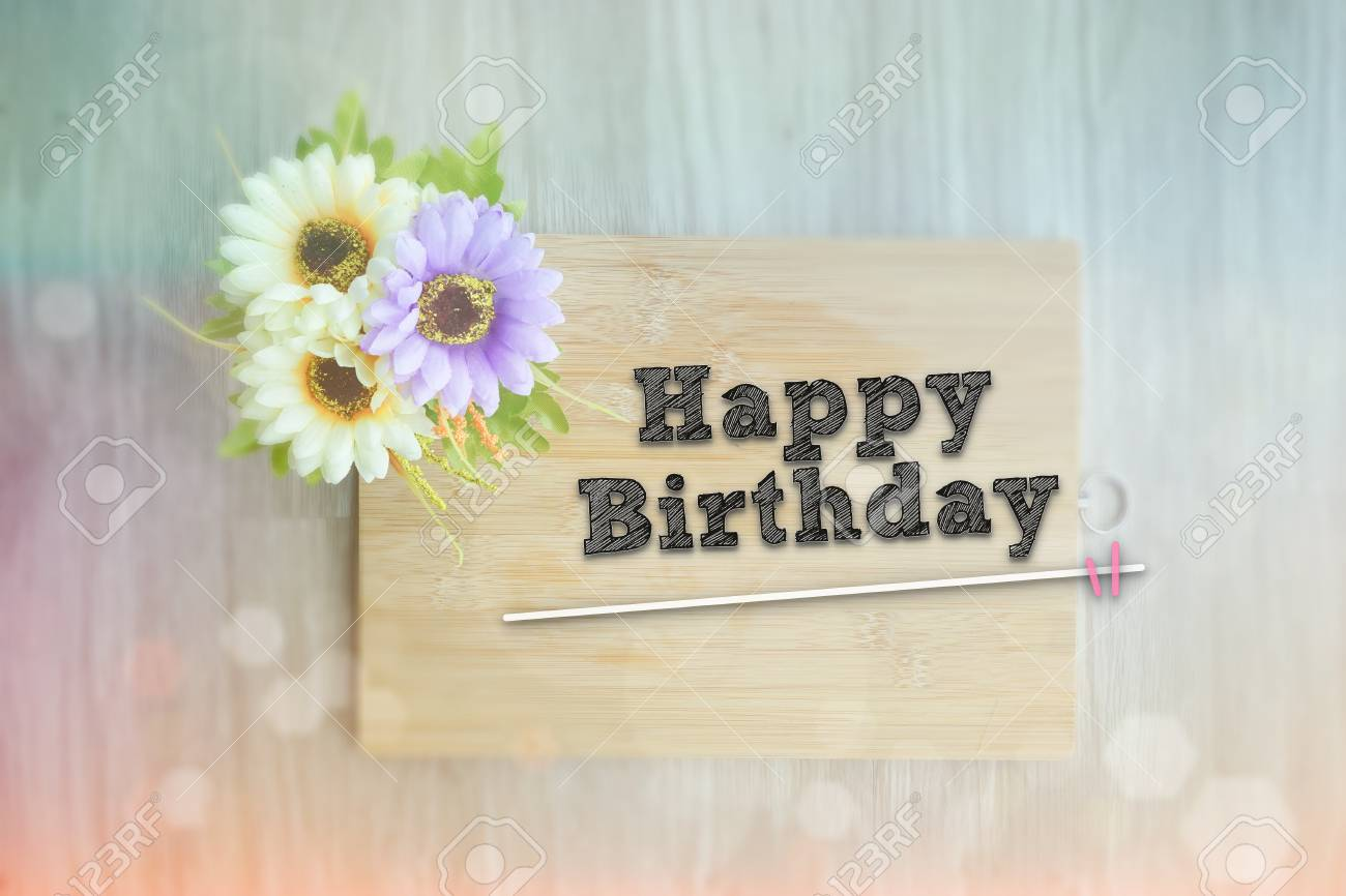 Happy Birthday Words On The Wooden Background Vintage Retro Or Stock Photo Picture And Royalty Free Image Image 71685674