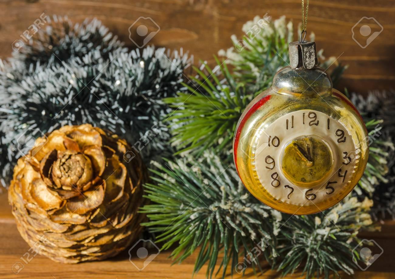 Old Fashioned Christmas Tree Decorations.Retro Clock With Old Fashioned Christmas Tree Decorations